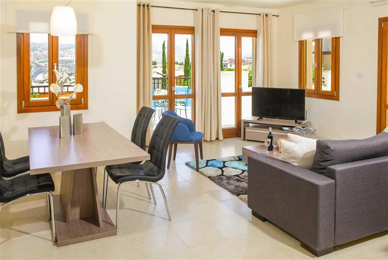 Living room in Apartment Zephyros Village LZ12, Aphrodite Hills