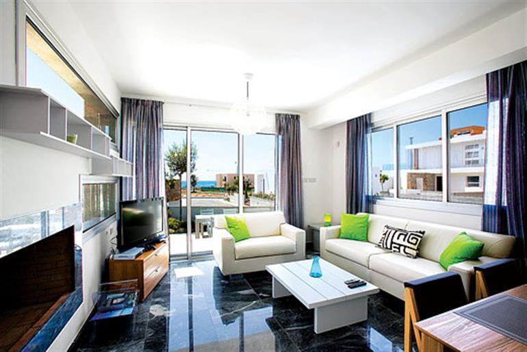 Living room in Cerulean, Paphos