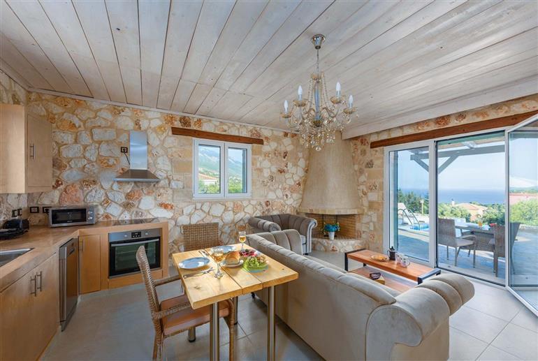 Living room in Villa Fig Tree Cottage, Trapezaki