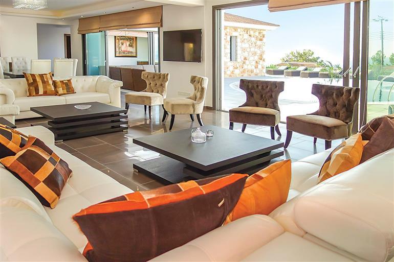 Living room in Villa Marietta, Argaka