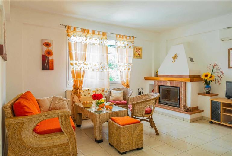 Living room in Villa Poseidon, Agios Spyridonas