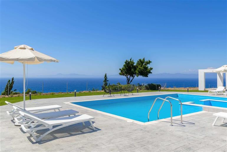 Swimming pool and views at Villa Ixia Sea View, Rhodes Town